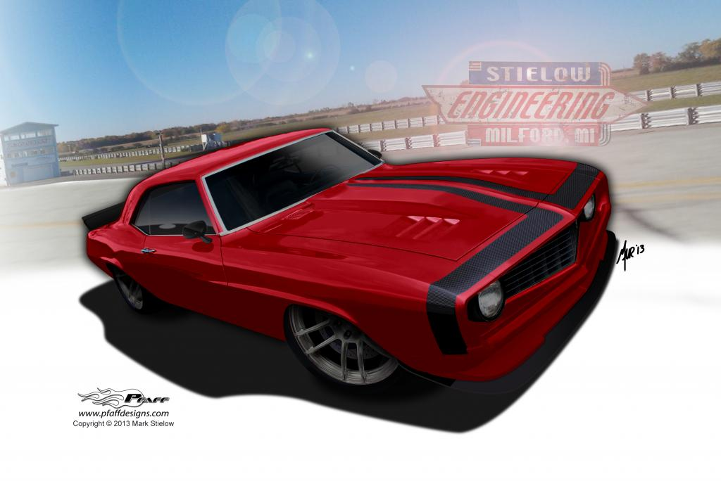 "Mark Stielows latest 69 Camaro project ""Hellfire"""