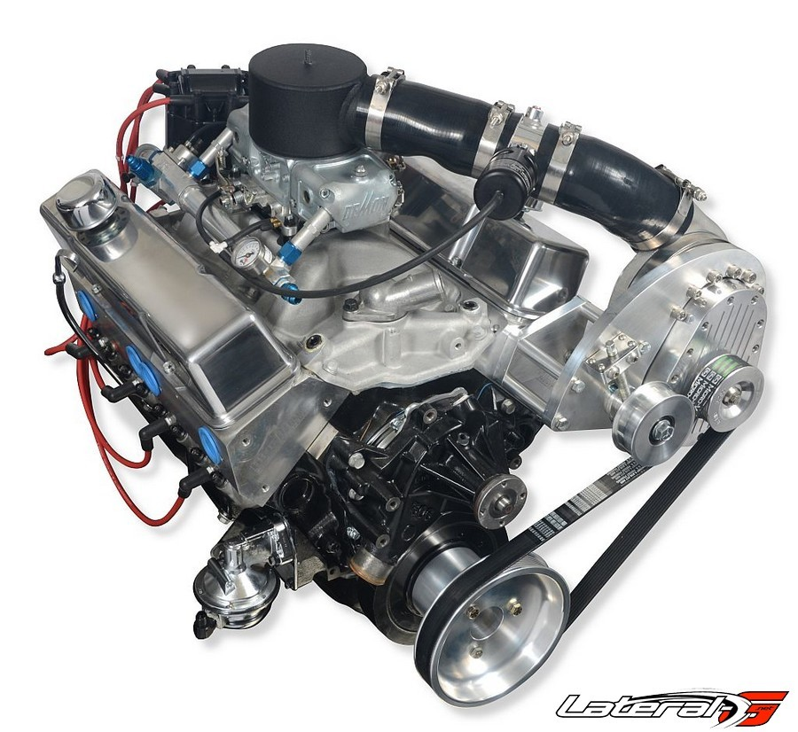 This system is unusual in that it's a blow-through kit that's complete. It includes a complete discharge tube assembly with the relief valve; V-band clamps, which allow the supercharger discharge port to swivel for easy alignment; air filter, and carburetor hat.