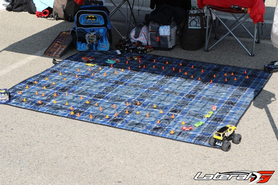 Spotted in the pits - a scale version of the course layout for some toddler to practice on!